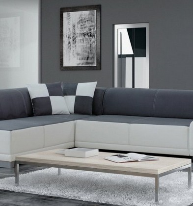 Kursi Sofa Minimalis Kombinasi Abu Kebiruan dan Putih