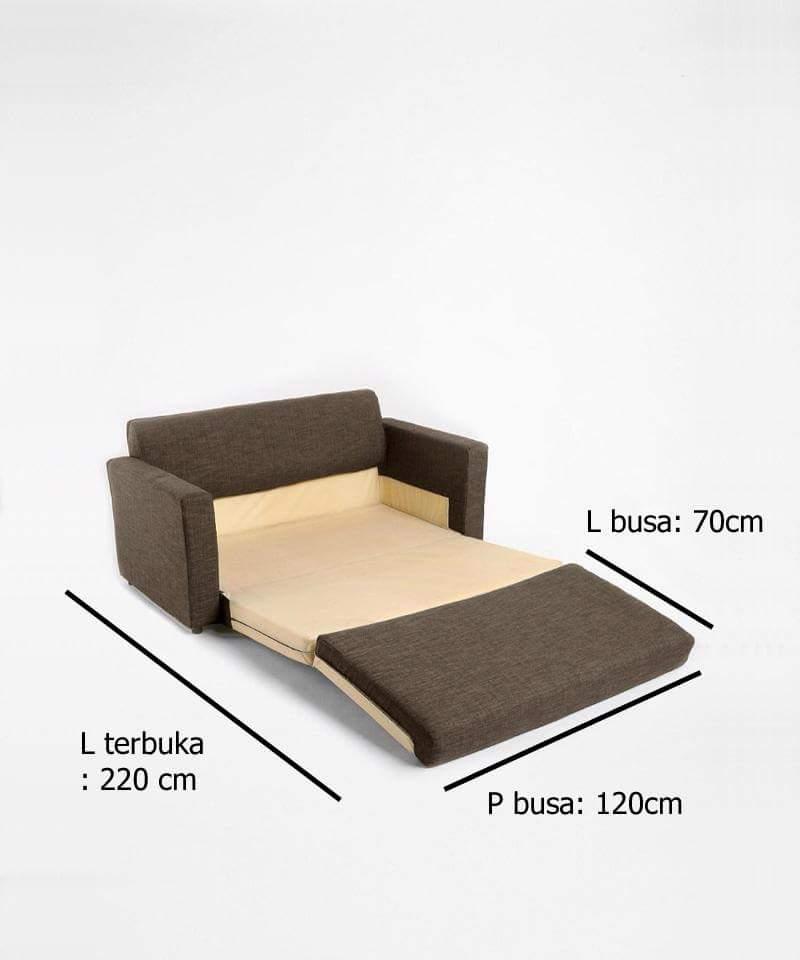 Sofa Bed Minimalis Hitam Kombinasi detail terbuka